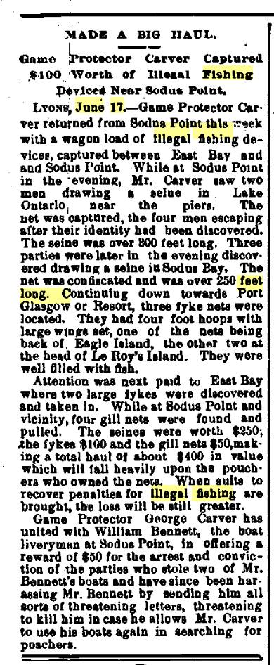 fish pirates article june 17 1898 Oswego daily times